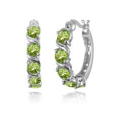 Sterling Silver Peridot S Design Round Hoop Earrings
