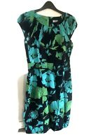 F&F Limited Edition Green Teal Floral Black Pencil Dress with Belt Size 14 Used