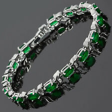Gift Fashion Jewelry Oval Cut 18K White Gold Plated Gp Green Emerald Bracelet