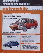 Revue technique CITROEN BX 19 GT TRS GTI EVASION RTA 482 1987 + FORD SIERRA