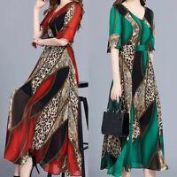 Women Fashion Summer V-Neck Knee Length Short Sleeve Leopard Print Dresses