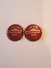 Soda pop bottle caps SUN RISE STRAWBERRY Lot of 2 plastic lined new old stock A3