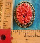 Vintage Dark Pink Bakelite Floral Design Oval Pin/Pendant w Roping Swirl JAPAN