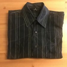 "URBAN SPIRIT Men's Shirt - 16.5"" L Large Short Sleeved Black Line Pattern"