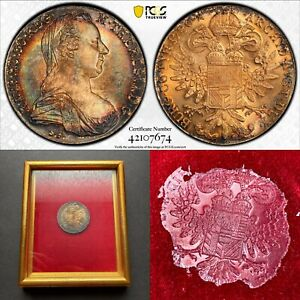 """MS66 """"1780"""" Austria Thaler Silver Restrike, PCGS Secure- Stunning Gold Toned"""