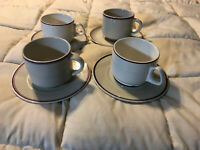 SUISSE LANGENTHAL WHITE PORCELAIN CHINA RED TRIM COFFEE CUPS MUGS & SAUCERS LOT