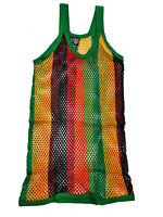 MENS RASTA STRING MESH VEST 100% COTTON MESH FISH NET FITTED STRING VEST