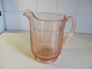 Vintage Pink Depression Glass Ribbed Pitcher