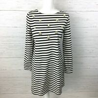 LOFT Women's Black and White Striped Knit Dress Long Sleeve Beaded Front Size MP