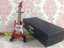 Dollhouse Miniature Musical Instrument Red Rock Guitar Decor w/ Case n Stand 4cm