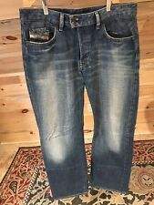 DIESEL Jeans Distressed Button Fly 34x31 Cotton Bootcut  Made in Italy