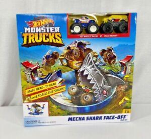 Hot wheels monster trucks mechanic shark face off playset