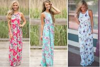 Floral Maxi Dress,holiday resort wear,Maternity Summer Beach Sleeveless 106