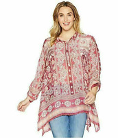 💖NWT JOHNNY WAS Blouse FRAME LONG TUNIC Multicolor Scarf Printed V Neck L $248