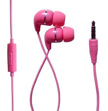 IN EAR PINK EARPHONES EXTRA BASS WITH MIC for IPHONE IPOD SAMSUNG HTC SONY MP3