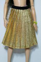 MATTEL GOLD PLEATED SKIRT ~ BARBIE FASHIONISTAS FASHION CLOTHES