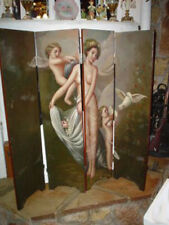EROTIC OIL ON PANEL FOLDING SCREEN 19TH CENTURY NUDES