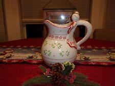 Temptations by Tara Angel Christmas Pitcher 2 Quart Ceramic Holly Berries