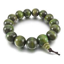 15mm Wood Bracelet Link Bracelet Wrist Tibetan Buddhist Green Sandalwood Bu P4W8