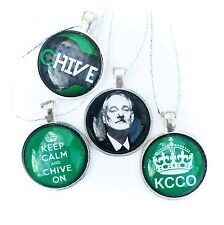 "THe Chive KCCO 1"" Circle Glass Christmas Ornaments 4 Peice Set"