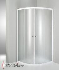 Box doccia cristallo 4mm cabina scorrevole bagno opaco 80x80 cm tondo bianco