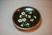 """Antique Chinese Cloisonne Plate 3 3/4"""" Perfect Condition Nice Patina"""