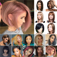Womens Bob Short Straight Hair Wigs Natural Party Cosplay Fancy Real Full Wig