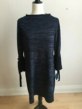 Gabby Skye Women bell sleeve Sweater Dress BNWT sz Large blue striped New