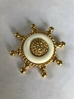 Vintage Gold Tone White Lucite Ship Boat Steering Wheel Nautical Brooch