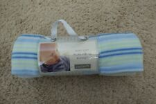 "Brand New Carter's Baby Soft Micro-Fleece Blanket 28""x34"" blue/green stripes"