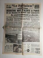 N403 La Une Du Journal Le Parisien 25 avril 1961 nuit d'alerte à Paris