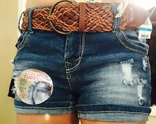 Wall Flower Women's Junior Belted Distressed Jean Shorts Size 11-NWT'S