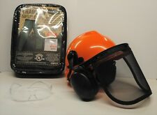 GREEN SAFETY CHAPS, HARD HAT, EAR MUFFS,  GLASSES,  3-Piece Combo Safety Kit