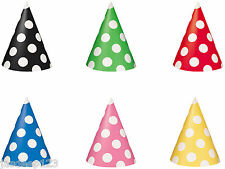 8 Polka Dots Spots Party Hats Supplies Decorations Wedding Birthday Celebrations