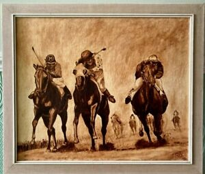 Oil Painting On Canvas Horse Racing  Signed TRIX 1980 Framed 27 x 23 inches