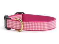 Up Country - Dog Puppy Design Collar - Made In USA - Pink Gingham  - XS S M L XL