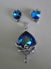 "SWAROVSKI ""BERMUDA BLUE"" CRYSTAL ELEMENTS PENDANT  & EARRINGS WITH NECKLACE"