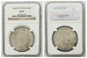 NGC Bolivia 1862 PTS FP Mint 8S Soles Large Silver Coin AU55