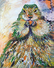 "Beaver 8""x10"" Limited Edition Oil Painting Print Signed Art by Artist Home Decor"