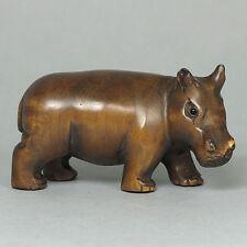 Japanese 1940's Netsuke Boxwood Wood Handcrafted Hippo Figurine Carving WN280