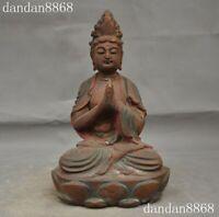 Chinese Buddhism old wood hand Carved Kwan-yin Guanyin Bodhisattva Buddha Statue