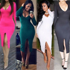 Fashion Women Sexy Deep V Neck Fitness Slim Clubwear Dress Irregular Slit Dress