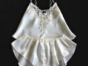 Victoria's Secret Satin Camisole Pyjamas Sleep Set S/M Ivory Short PJs Vintage