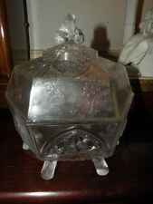 ANTIQUE EAPG CLASSIC BUTTER DISH WITH COVER & LOG FEET GILLINDER PRESSED GLASS