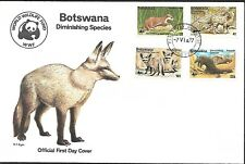 Botswana 1977 First Day Cover Wwf Clawless Otter, Bat - Eared Foxes, Pangolin