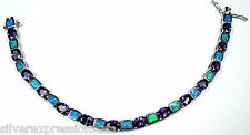 Amethyst & Blue Fire Opal Inlay 925 Sterling Silver Link Tennis Bracelet 7-1/2''