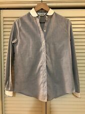 New listing Vintage 60s 70s Sears Jr Bazaar Womens Button Up Shirt Blue White