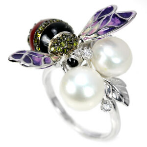 NATURAL AAA WHTIE PEARL & MULTI COLOR CZ STERLING 925 SILVER ENAMEL BEE RING 6