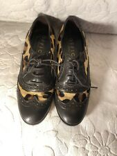 Size 3 OFFICE animal print leather Lace Ups