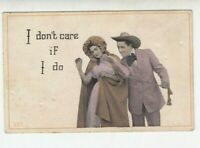 Sexist Vintage  postcard - Cowboy ropes Lady and grabs her ass